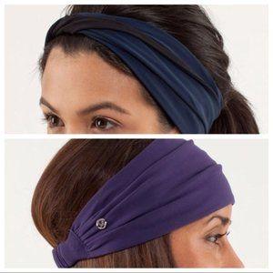 2 Lululemon Headbands - Black / Neon&Gray